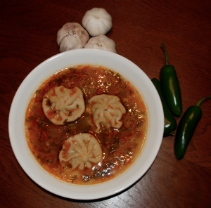 Wayne's Spicy Soup with dumplings